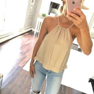 Zara low side open tie back shirt beige medium